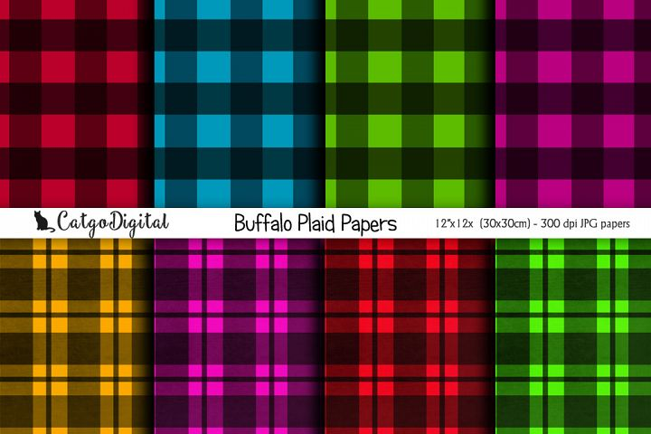 Buffalo Plaid Papers Digital Scrapbooking Pack 12x12 JPEG