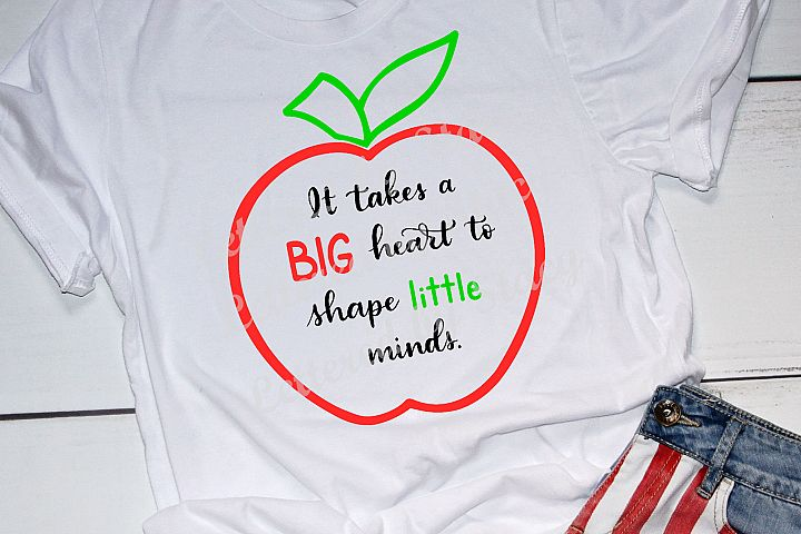 Teacher SVG - It takes a big heart to shape little minds example 2
