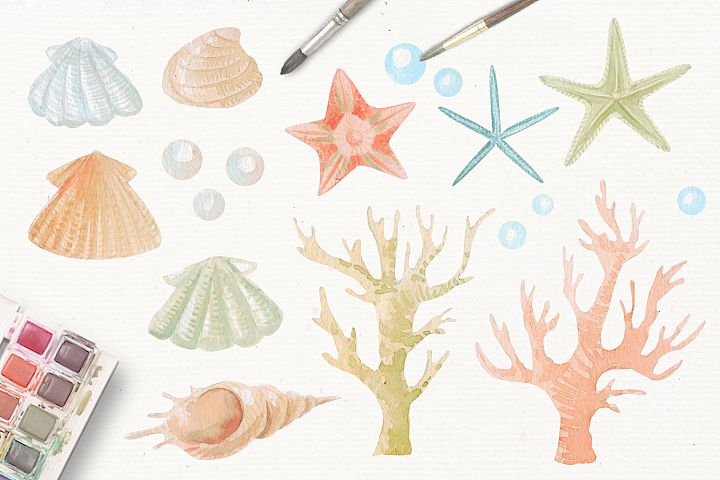 Nautical watercolor clipart collection - Free Design of The Week Design1