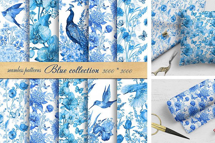 Seamless Pattern Watercolor Blue