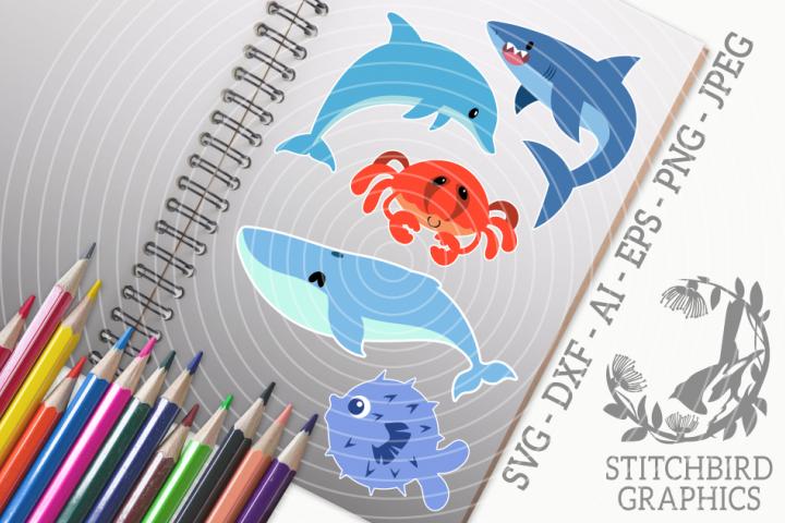 Sea Creatures Bundle SVG, Silhouette Studio, Cricut, Eps