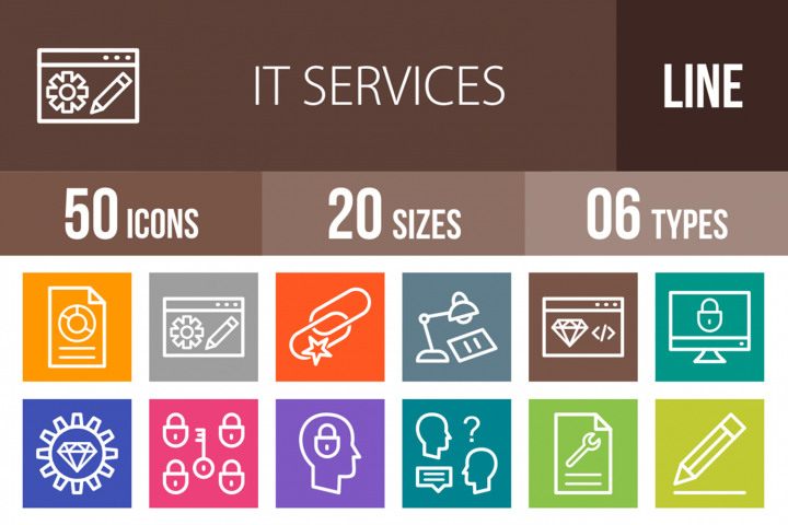 50 IT Services Line Multicolor B/G Icons