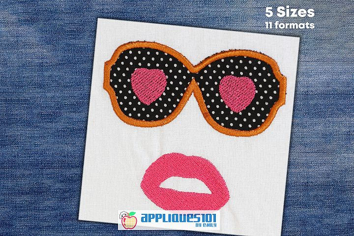 Love Sunglasses Machine Embroidery Applique Design - Glasses