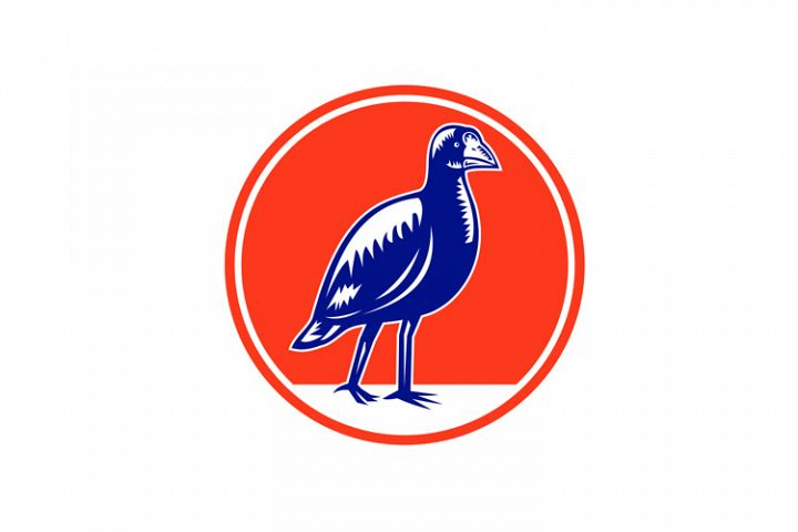 South Island Takahe Circle Woodcut