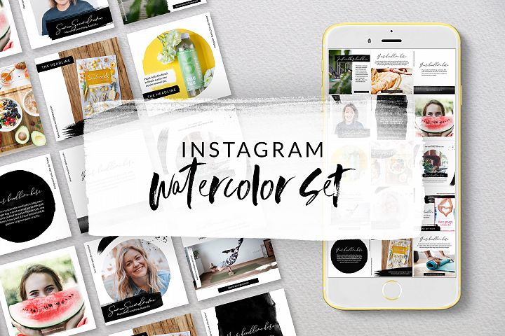 Instagram Watercolor Templates #01