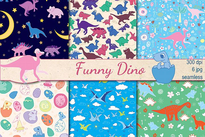 Funny Dino seamless patterns