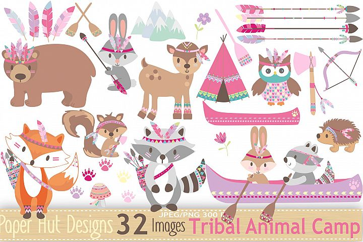 Girls Tribal Animals Clipart