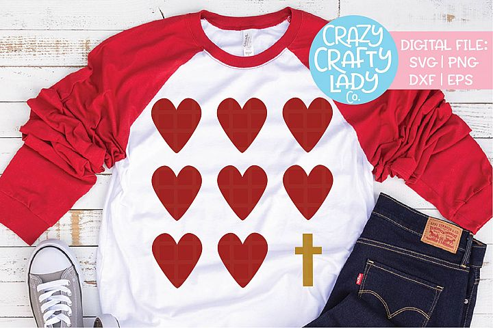 Hearts and Cross SVG DXF EPS PNG Cut File
