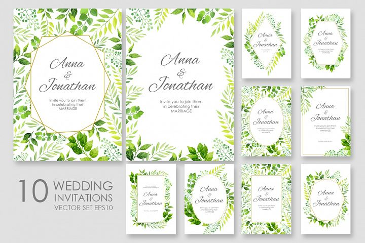 Floral Wedding invitations vector set