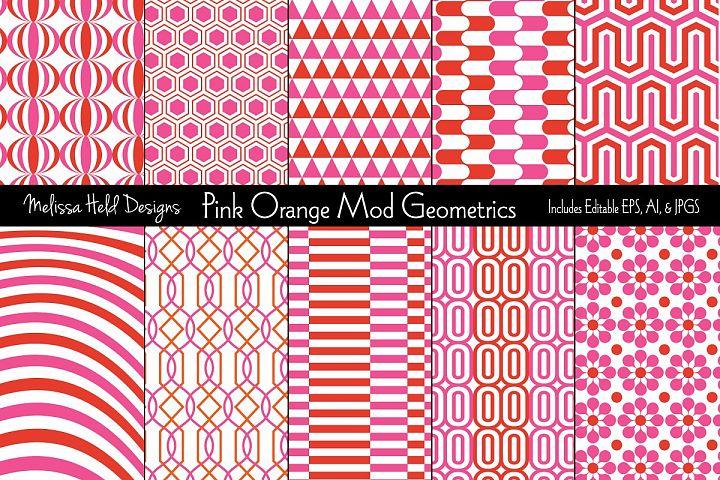 Pink & Orange Mod Geometric Patterns