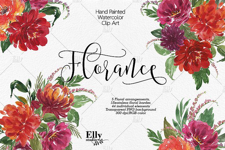 Watercolor floral clip art - Florance -