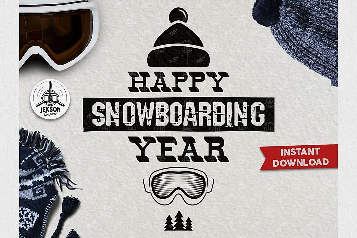 Retro Snowboarding Logo / Winter Activity Badge SVG / Patch