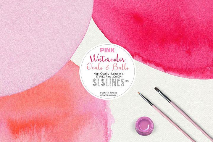 Pink Balls & Ovals Watercolor Shapes Clipart