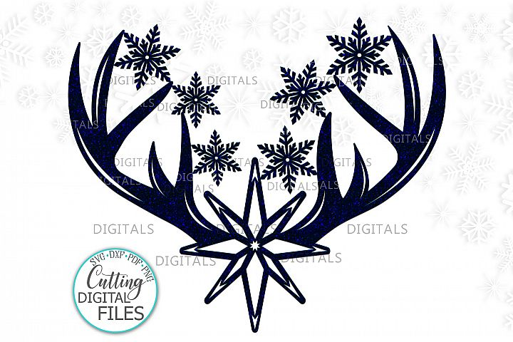 Christmas deer antlers with Star and Snowflakes svg cut out