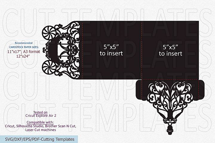 Princess 5x5 trifold envelope wedding invitation laser cut example image 7