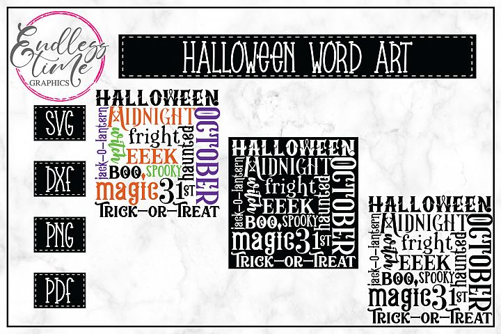 Halloween Word Art SVG For Trick or Treat Bags