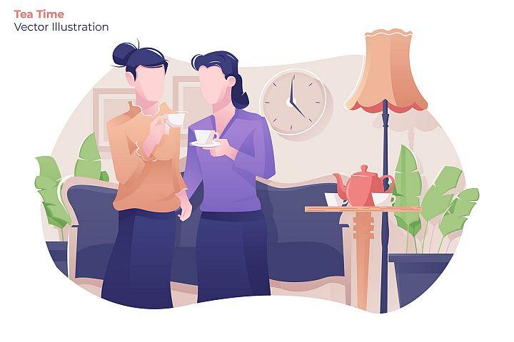 Tea Time - Vector Illustration