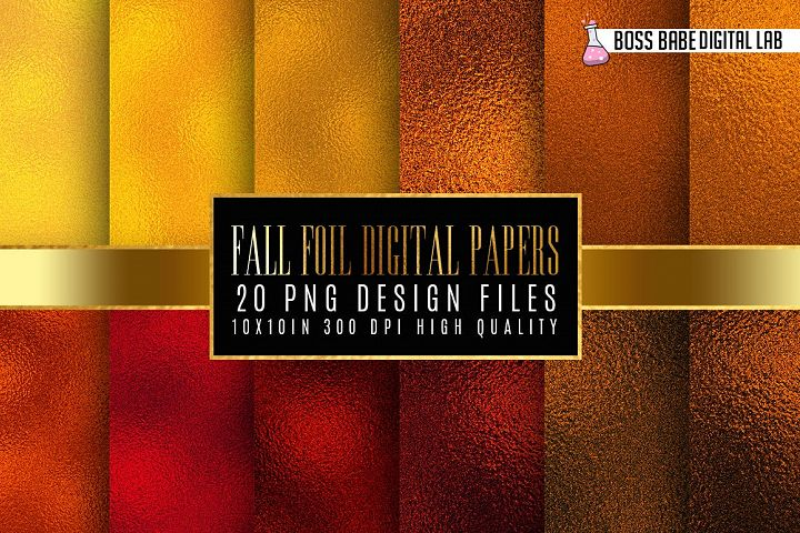 20 Fall Colored Foil Digital Papers
