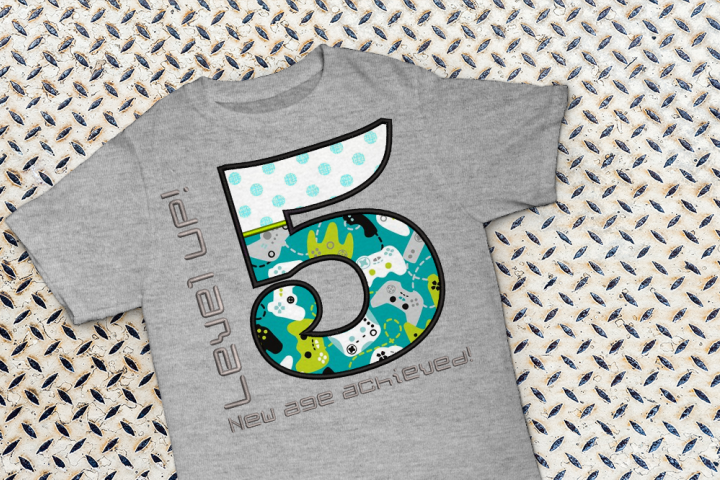 Level Up! 5th Birthday Applique Embroidery Design