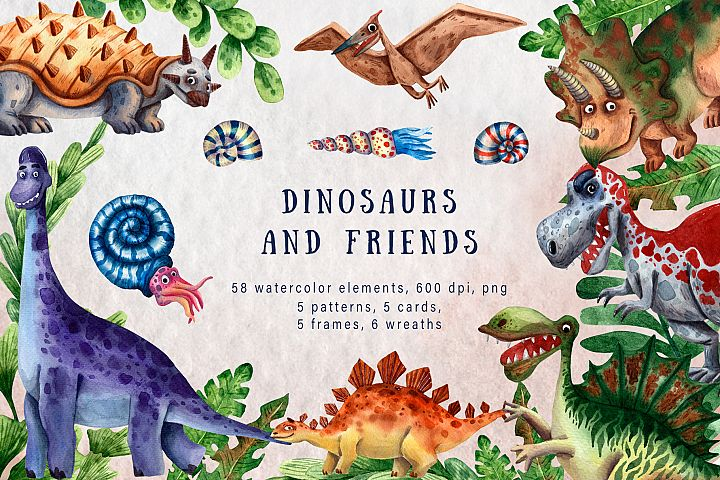 Dinosaurs and Friends - Watercolor Clip Art Set
