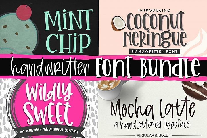 Handwritten Font Bundle - 4 Cut-friendly Fonts