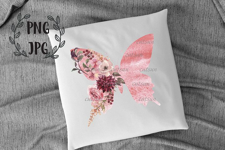 Floral Watercolor Butterfly PNG