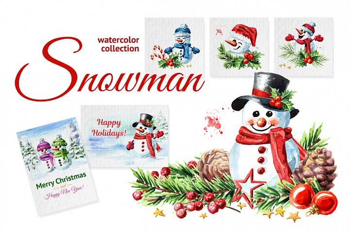 Snowman. Watercolor collection