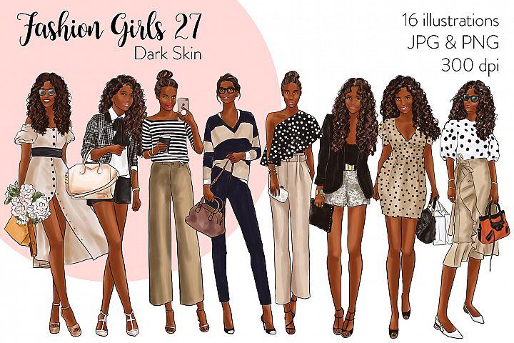 Fashion illustration clipart - Fashion Girls 27 - Dark Skin