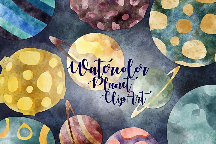 Watercolor Planet Clipart. Space clipart. Set of 10