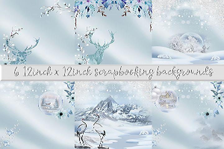 6 Scandinavian Christmas Scrapbook Page. 12 x 12 inch