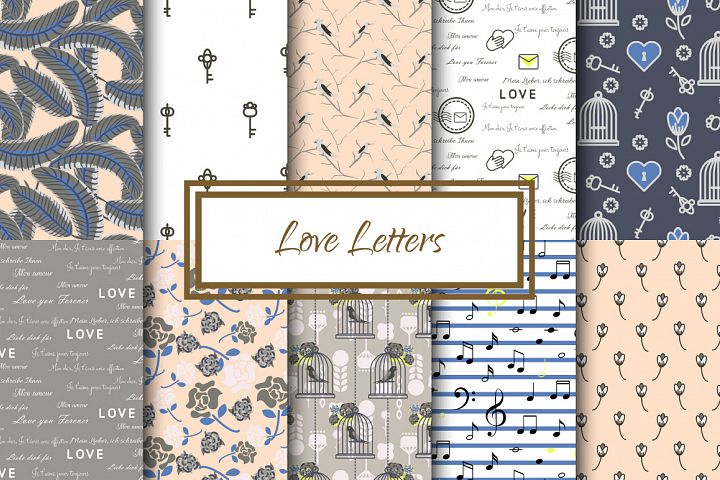 Love Letters Seamless Patterns