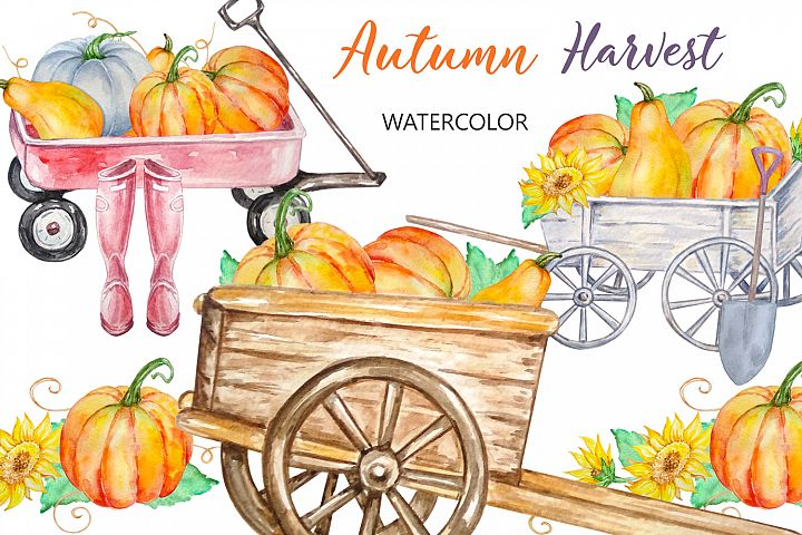 Watercolor Harvest Wagons with Pumpkins, Autumn clipart