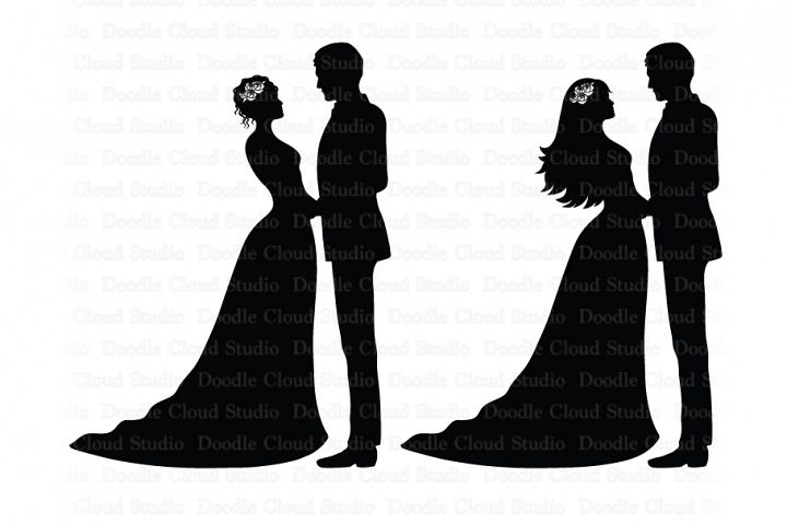 Wedding SVG, Bride and Groom SVG, Wedding Clipart, Married.
