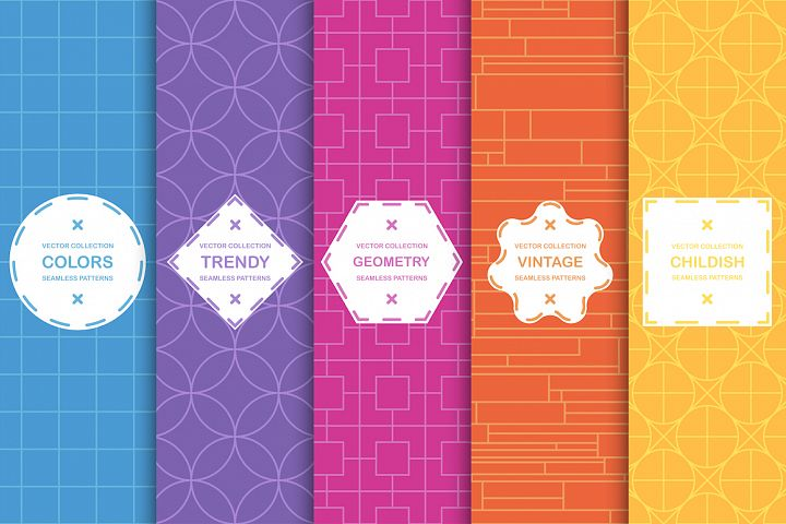 Colorful seamless geometric patterns