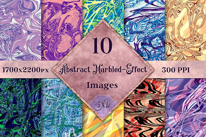 Abstract Marbled-Effect Digital Paper Textures / Backgrounds