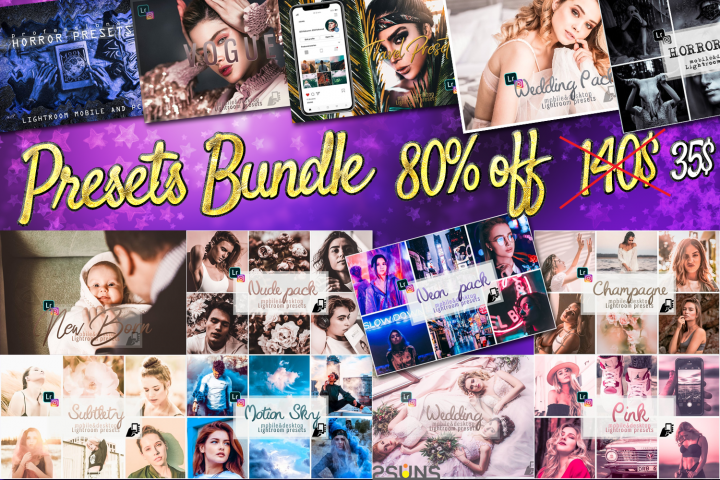 Presets bundle 100 lightroom effects wedding,fashion,horror