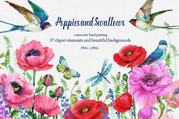 Red Poppies, flowers Clipart, Bird, Butterfly,