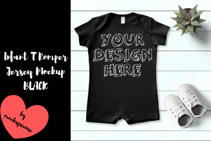 Infant T Romper Jersey Mockup - BLACK