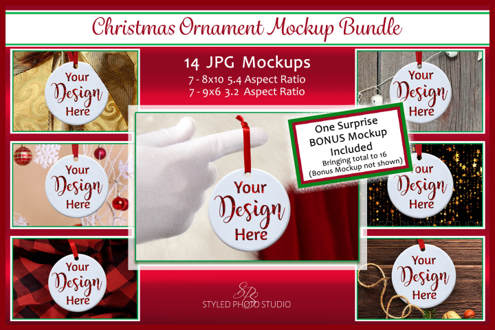 Christmas Ornament Mockup Bundle, Ornament Mock Up JPGS