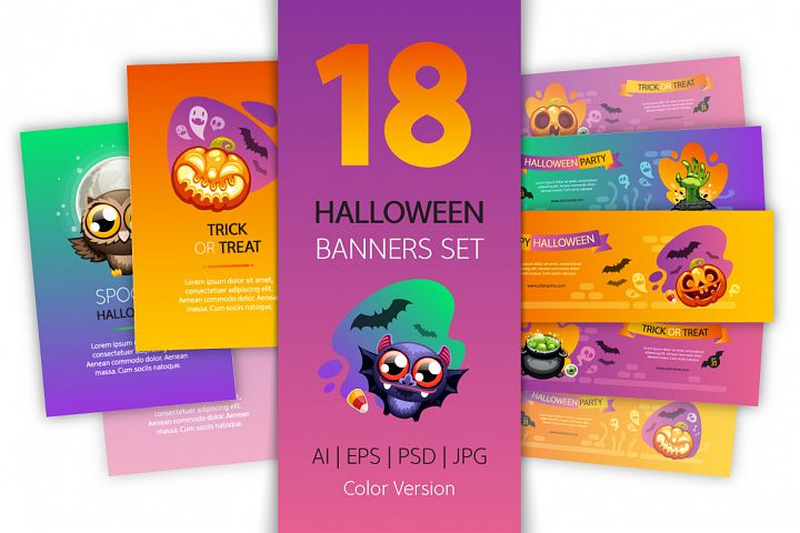 Halloween Banners Set Colorful Version