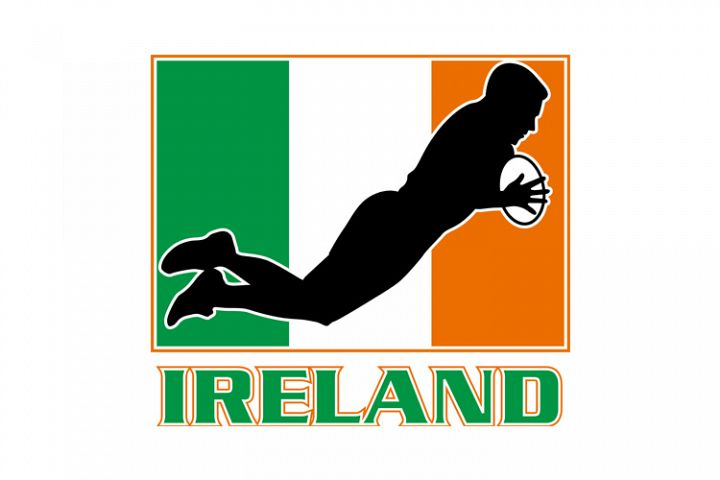 rugby playing diving try ireland flag