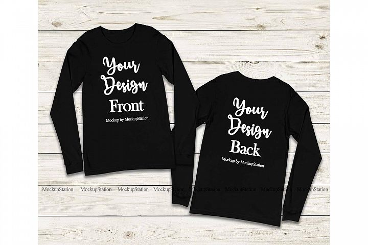 Front & Back Bella Canvas 3501 Black Long Sleeve Mockup