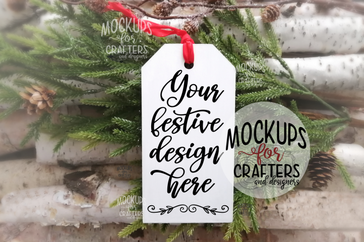 Ornament, Gift Tag, White, MOCK-UP
