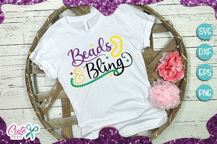Beads and bling mardi gras SVG cut file for crafter