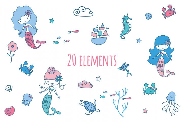 Mermaid Clip Art example 1