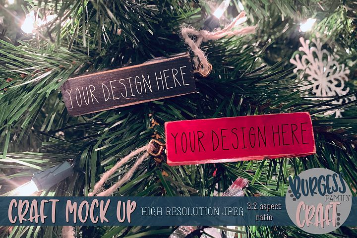 Black & red block ornaments Craft mock up |High Res JPEG