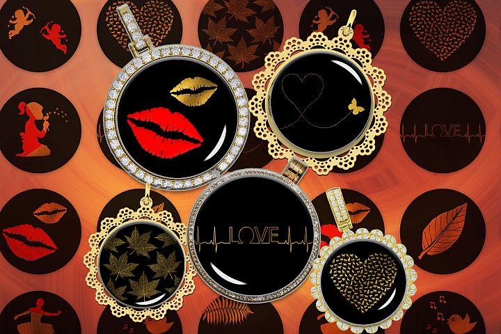 Minimalist Digital Collage Sheet,Red Images,Gold Printable
