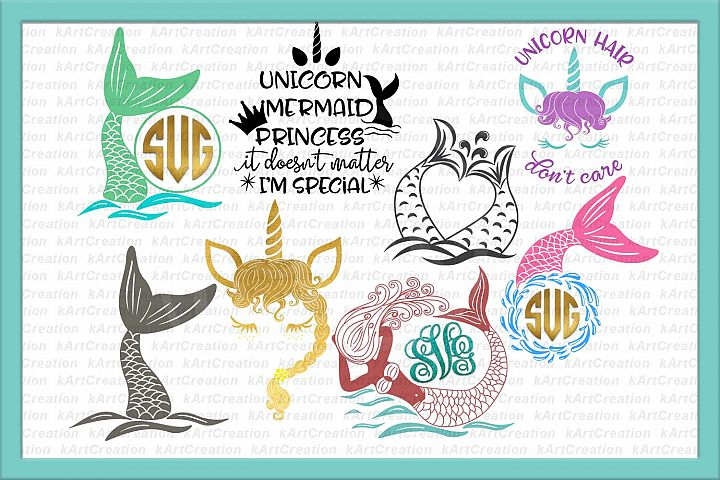 Unicorn Mermaid bundle svg dxf files clipart printable png