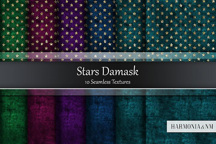 Stars Damask 10 Seamless Textures