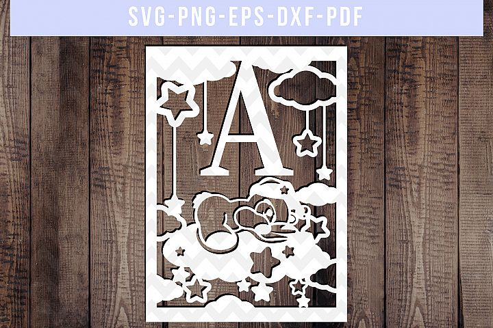 Nursery SVG Cut File, Newborn Papercut, Baby Paper Art, DXF